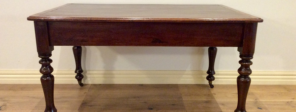 Victorian Cedar Two Draw Desk with Leather Inlay.