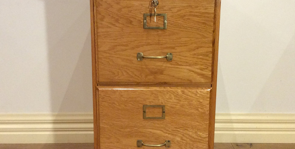 Period Style Oak Two Drawer Filing Cabinet with Keys.