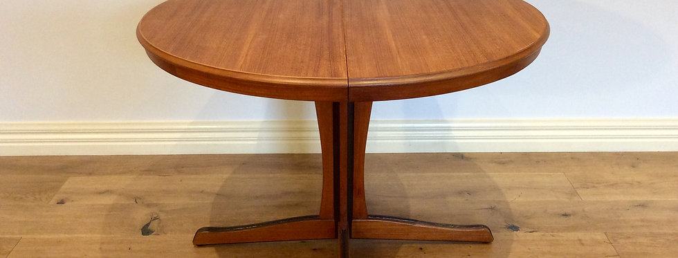 Vintage Chiswell Teak Pedestal Extension Dining Table.