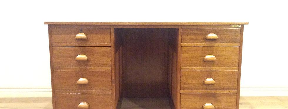 Rare Antique Oak Eight Drawer Partners Desk.