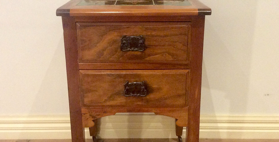 Oak Art Nouveau Two Drawer Bedside Cabinet with Tulip Tile Top