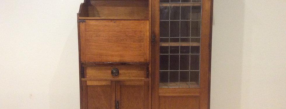 Antique Lead Light Panel Oak Drop Front Secretaire.