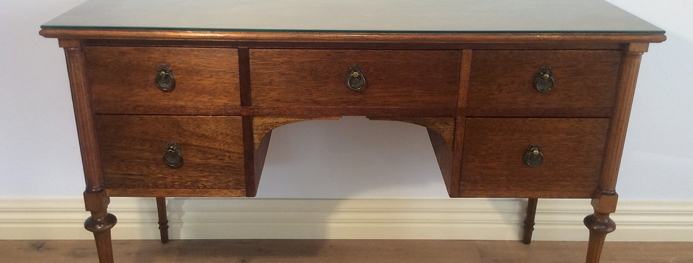 Restored Antique Desk with Glass Top