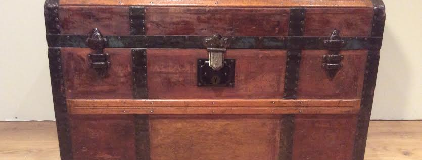 Antique Metal Bound Dome Top Trunk