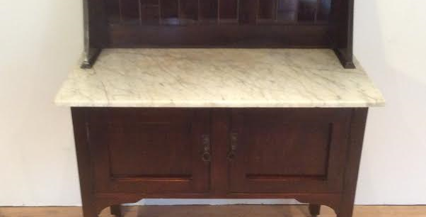 Antique Blackwood Marble Top Washstand