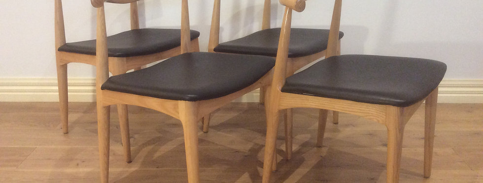 Four Danish Mid Century Replica Hans Wegner Elbow Chairs. RRP $700