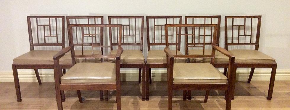 Restored Mid Century Decro Solid Blackwood Dining Chairs. Circa 1965.