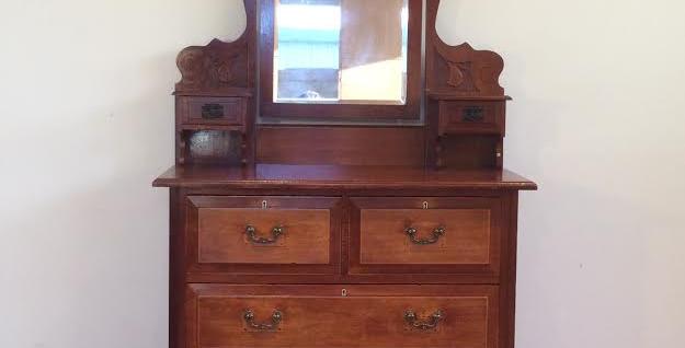 Antique Silky Oak Six Drawer Duchess Dresser
