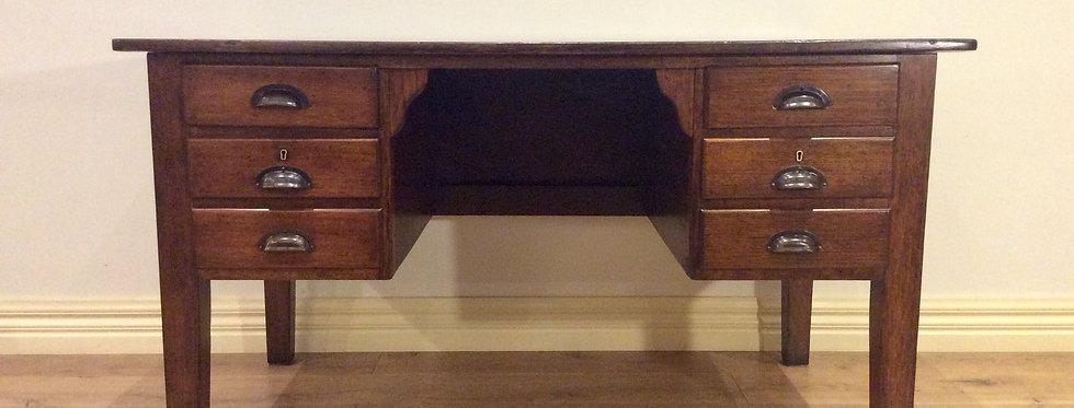 Mid Century Industrial Solid Oak Six Drawer Desk.
