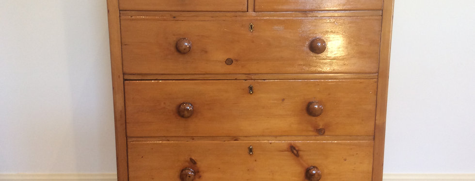 Large Victorian Pine Chest of Drawers with Ornate Brass Escutcheons