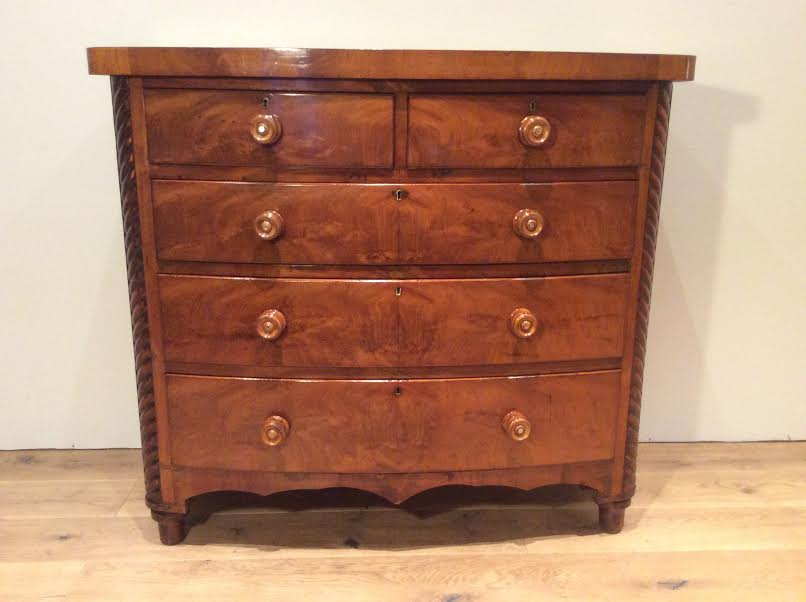 Bow Fronted Flame Mahogany Chest