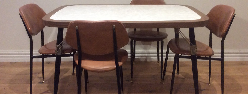 Mid Century Dining Table and Matching Chairs