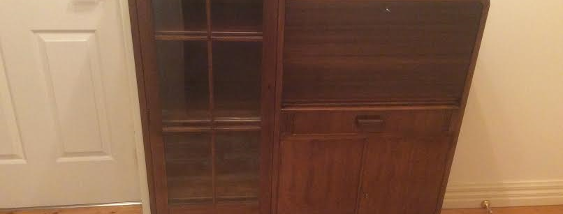 Art Deco Secretaire with Glass Panel Bookcase