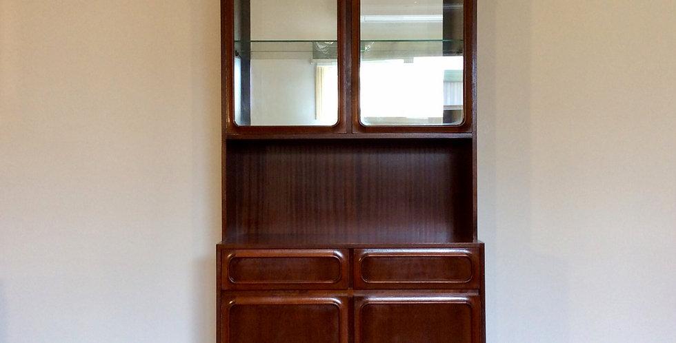 Mid Century Noblett Walnut Display Cabinet Wall Unit. Circa 1970