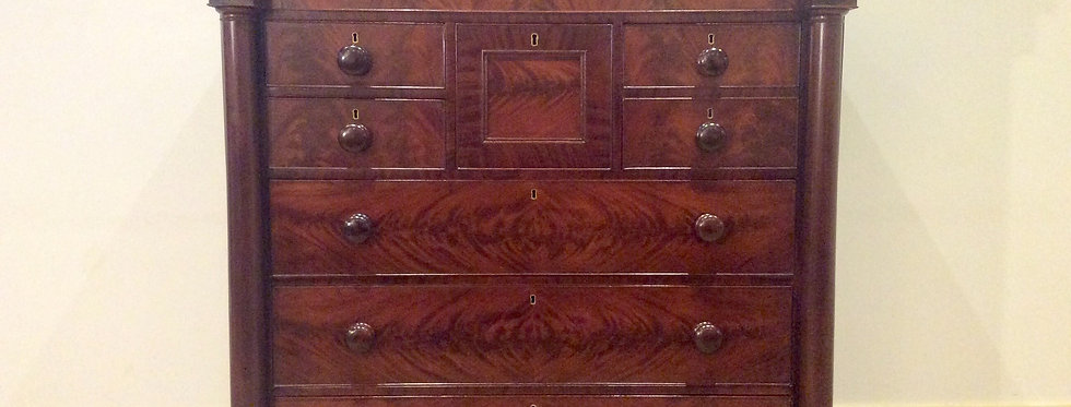 Exquisite Victorian Flame Mahogany Seven Drawer Chest.