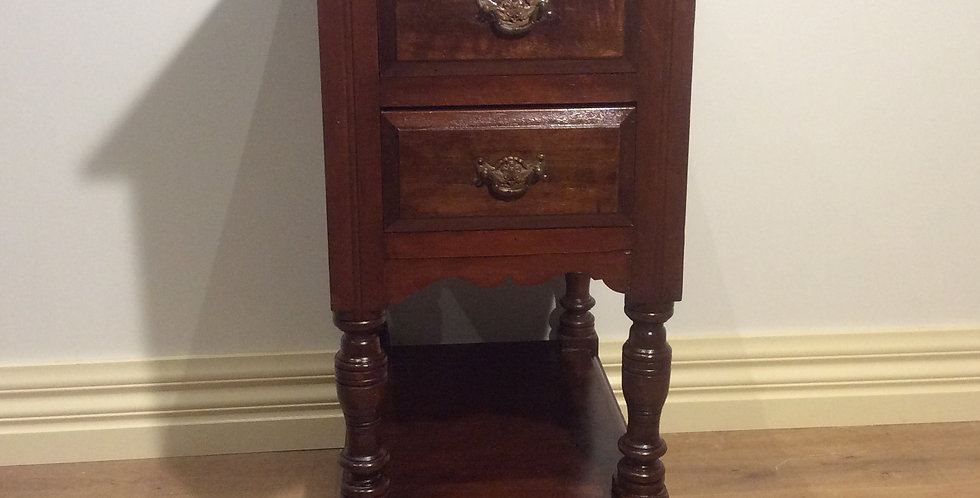 Rustic Edwardian Two Drawer Bedside Cabinet.