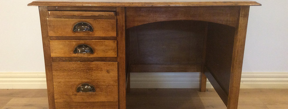 Antique Oak Three Drawer Desk. Circa 1925