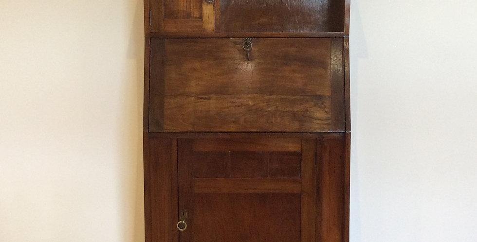 Antique Blackwood Drop Front Bureau Desk with Book Shelf Storage