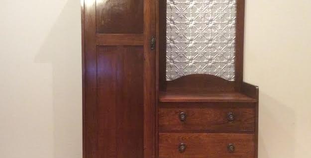 Antique Wardrobe with Press Metal Panel.