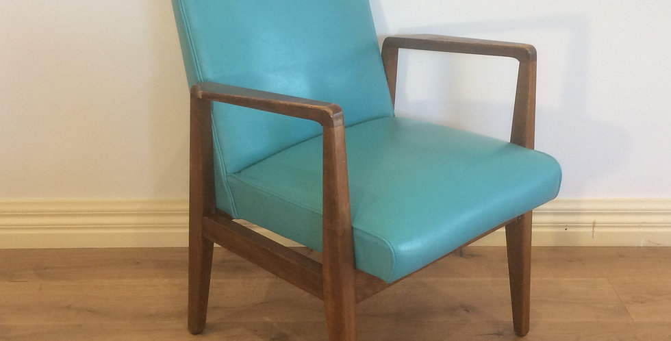 Mid Century Blackwood Armchair with Teal Upholstery. Circa 1960