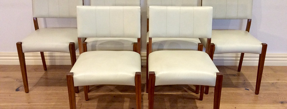 1960s Teak Dining Chairs with White Leather Upholstery.