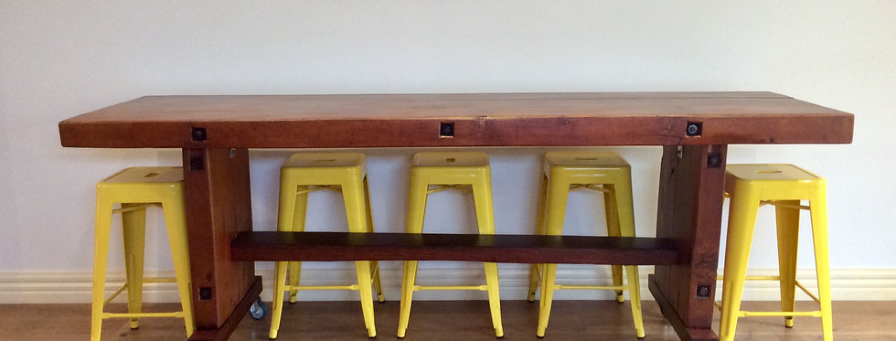 Mid Century Industrial Kitchen Island Bench with EHI Castors