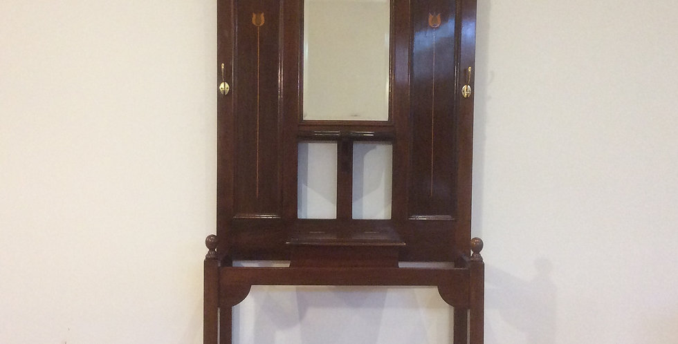Edwardian Mahogany Tulip Inlaid & Mirrored Back Hall Stand.