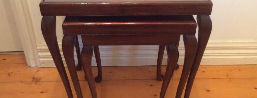 Queen Anne Era Antique Mahogany Nest of Tables with Glass Inserts