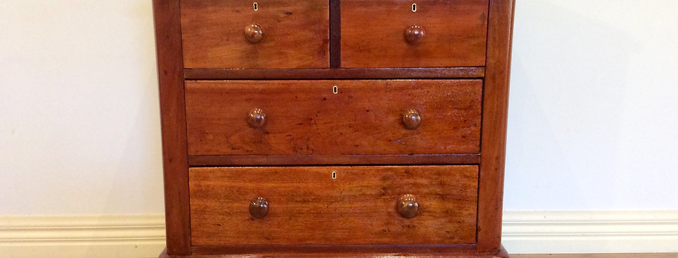 Front of Restored Victorian Cedar Chest with Four Drawers.