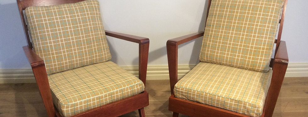 Mid Century Slat Back Arm Chairs.