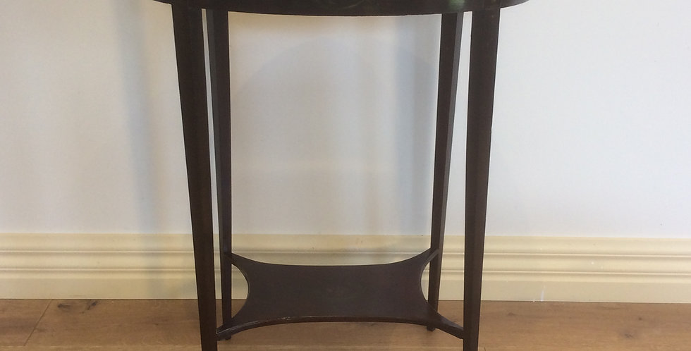 Hand Painted Victorian Mahogany Side Table with Inlaid Top.