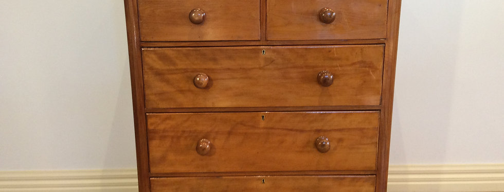 Restored Victorian Huon Pine Chest of Five Drawers.