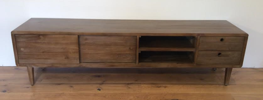 New Globe West Scandinavian Style Solid Oak Low Line Entertainment Unit.