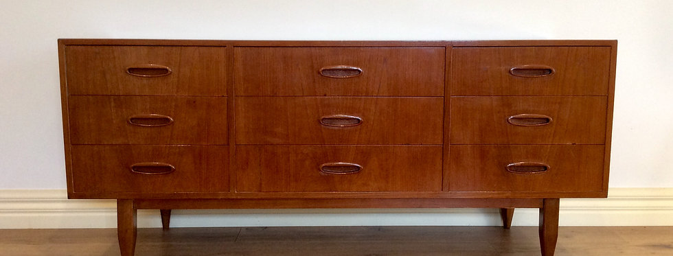 Restored Mid Century Danish Nine Drawer Sideboard. Circa 1960.