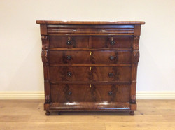 Early Victorian Flame Mahogany Chest