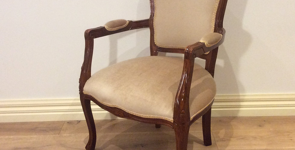 Antique Walnut Armchair with Velvet Upholstery.