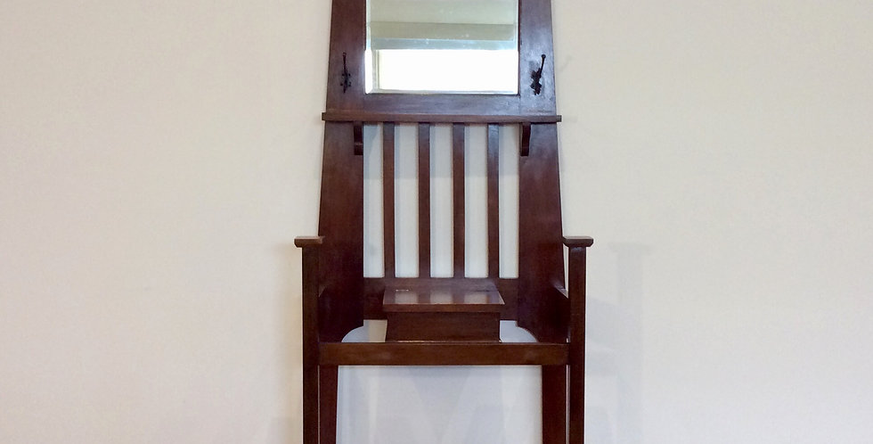 Oak Arts and Crafts Hall Stand with Bevelled Mirror and Umbrella Holders. Circa 1900.