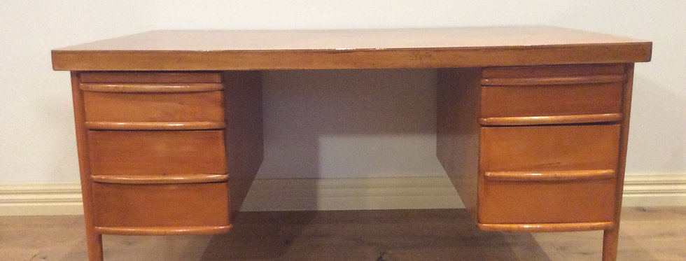 Mid Century Danish Teak Five Drawer Pedestal Desk.