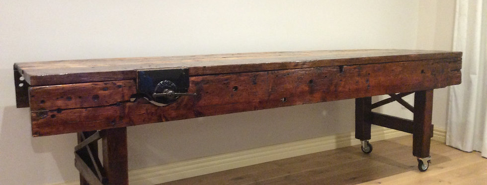 Distressed Antique Industrial Oregon & Baltic Kitchen Island Bench. Circa 1840.
