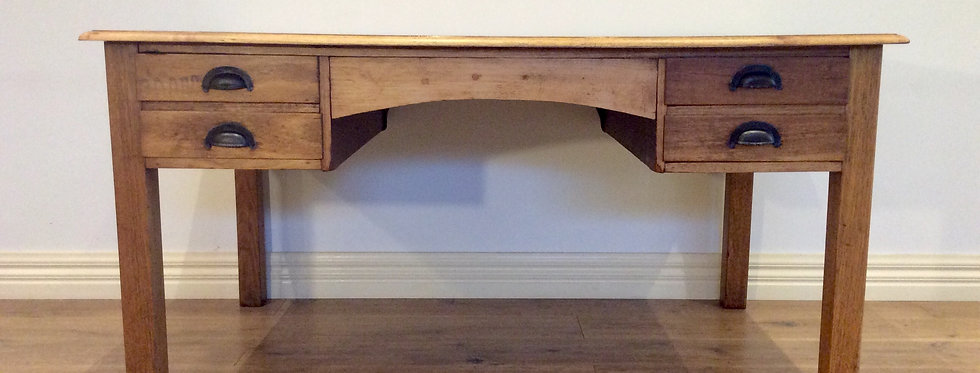 Large Solid Oak Industrial Desk with Four Drawers.