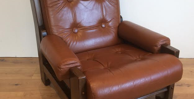 Mid Century Danish Style Leather Armchair