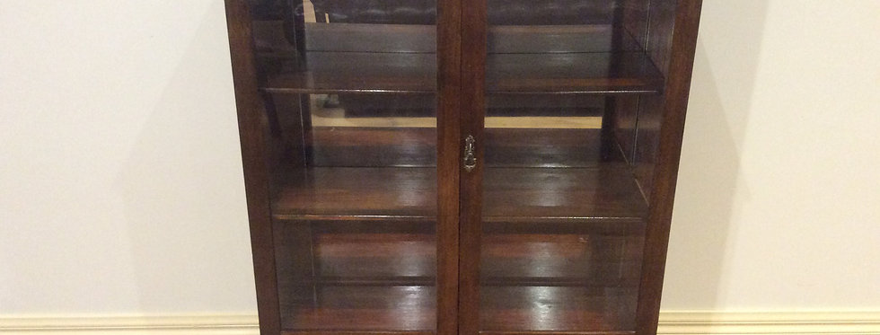 Antique Blackwood Display Case with Mirror Back and Cabriolet Legs.