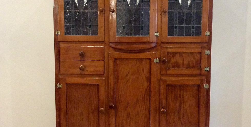 Bow Fronted Antique Kitchen Pantry with Ornate Leadlight Panel Doors.