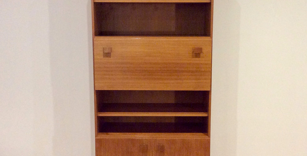 1960s E. H. Reidy Wall Unit with Drop Front Cocktail Cabinet.