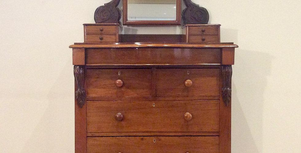 Serpentine Front Victorian Cedar Seven Drawer Duchess Dresser. Circa 1890.
