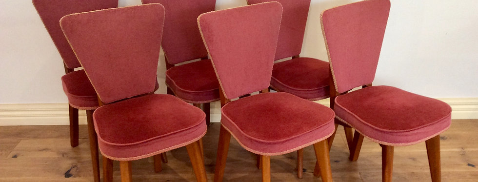 Six Matching 1950s Solid Oak Dining Chairs.