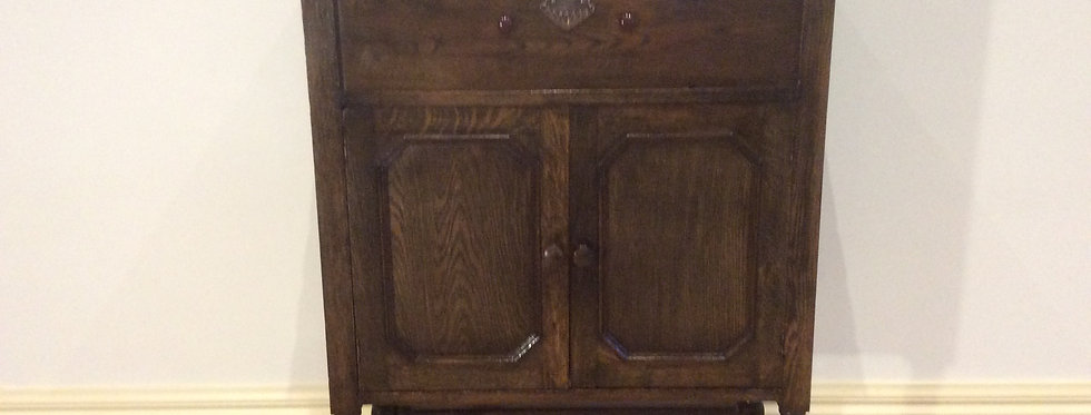 Tudor Style Oak Two Door Music Cabinet with Flip Top Lid
