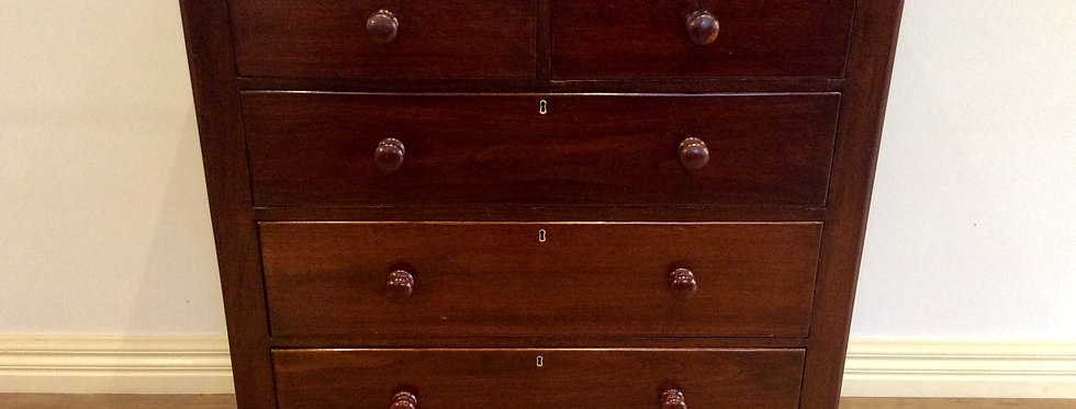 Victorian Five Drawer Cedar Tallboy with Tempered Glass Top.