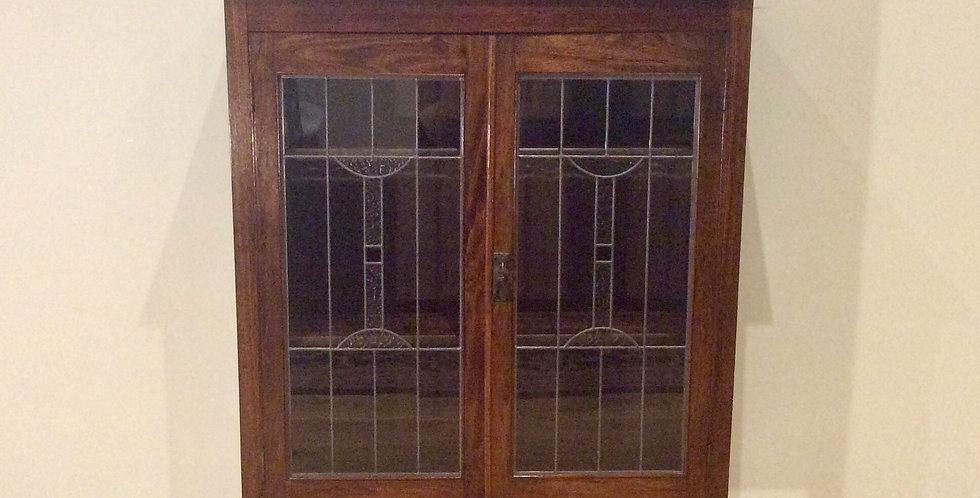 Restored Antique Blackwood Leadlight Panel Display Cabinet.
