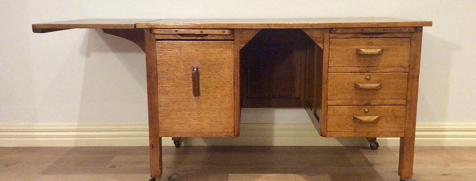 Rare Antique Oak Teachers Desk with Drop Side Panel. Circa 1930.